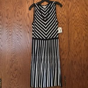 Black and white stripped long dress